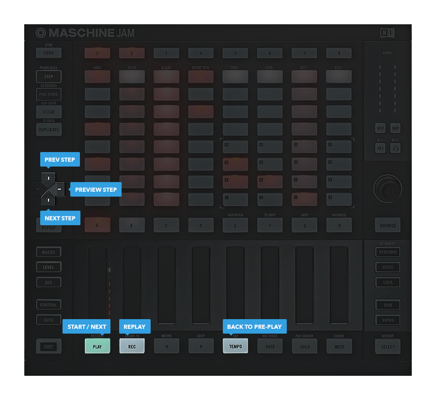 Native Instruments Maschine Jam hardware controls