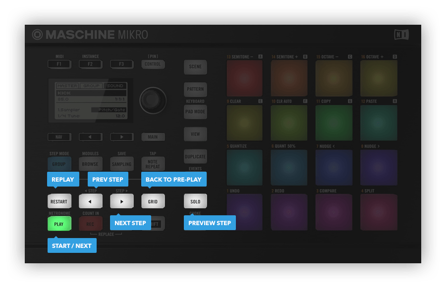 Native Instruments Maschine Mikro hardware controls
