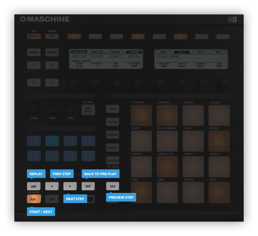 Native Instruments Maschine hardware controls